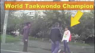 WORLD TAEKWONDO CHAMPION GIRL MAKES KO Aggressor IN THE STREET