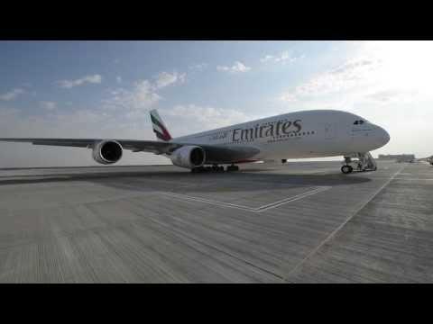 A380 flight from Dubai International to Dubai World Central   Emirates Airline