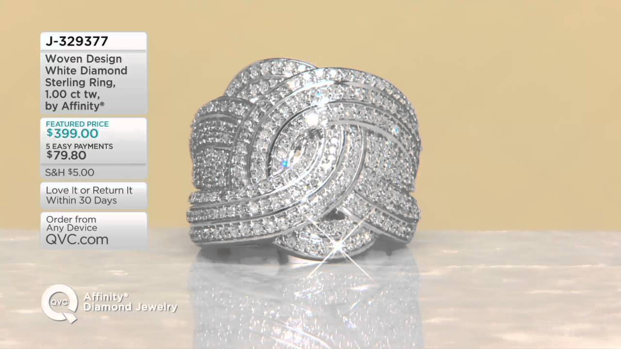 Woven Design White Diamond Sterling Ring, 100 Cttw, By Affinity On Qvc
