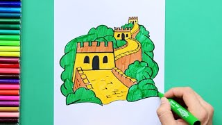 How to draw and color the Great Wall of China