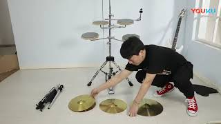 Asanasi 연습용 재즈 드럼 패드 5드럼 4심벌 풀…