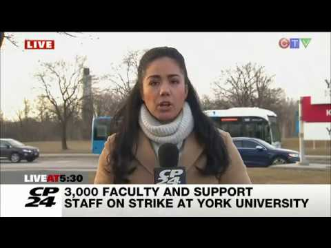 CUPE 3903 Strike Day 1 - CP24's Kayla Williams covers the rally at York University's Keele St Campus