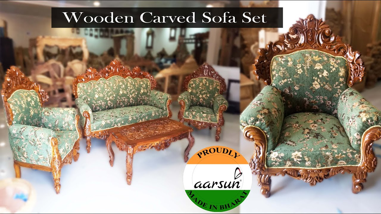 147 Latest Design Wooden Sofa Set 5 Seat Teak Wood Sofa With Carved Top Table Aarsunwoods Com Youtube