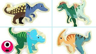 Dinosaurs Matching 3D Wooden Puzzle Toys - Learn Names Of Dinosaurs In English- 공룡 입체 퍼즐 게임 장난감 恐竜