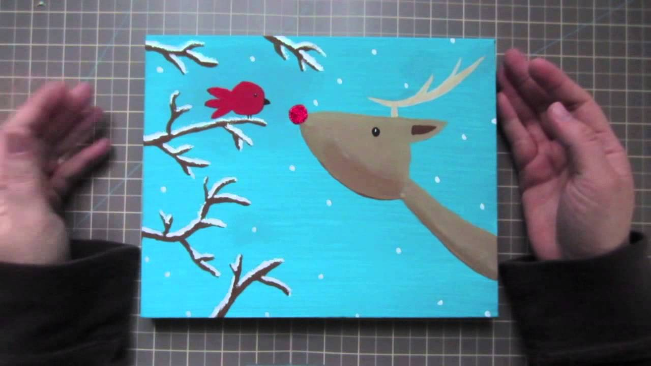 nice Cute Christmas Canvas Paintings Part - 11: Christmas Canvas and Card Share - YouTube