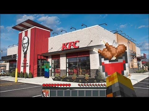Minecraft WORKING AT KFC WITH MY FRIENDLY ZOMBIE MARK!! TRAVELLING TO THE KFC DIMENSION!! Minecraft thumbnail