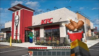 Minecraft WORKING AT KFC WITH MY FRIENDLY ZOMBIE MARK!! TRAVELLING TO THE KFC DIMENSION!! Minecraft