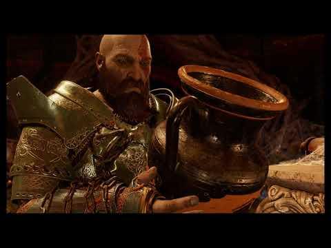 God of War - The Black Rune: Kratos Sees Vase of Himself In Tyr's Vault, Takes Wine Cutscene (2018)