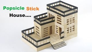 How to Make Popsicle Stick House | ICE Cream Stick Modern House