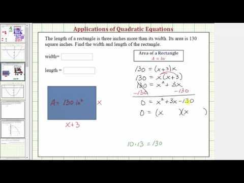 how to set up a quadratic equation