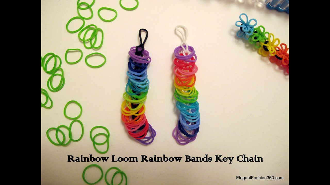 How To Make Rainbow Bands Key Chain Rainbow Loom Youtube