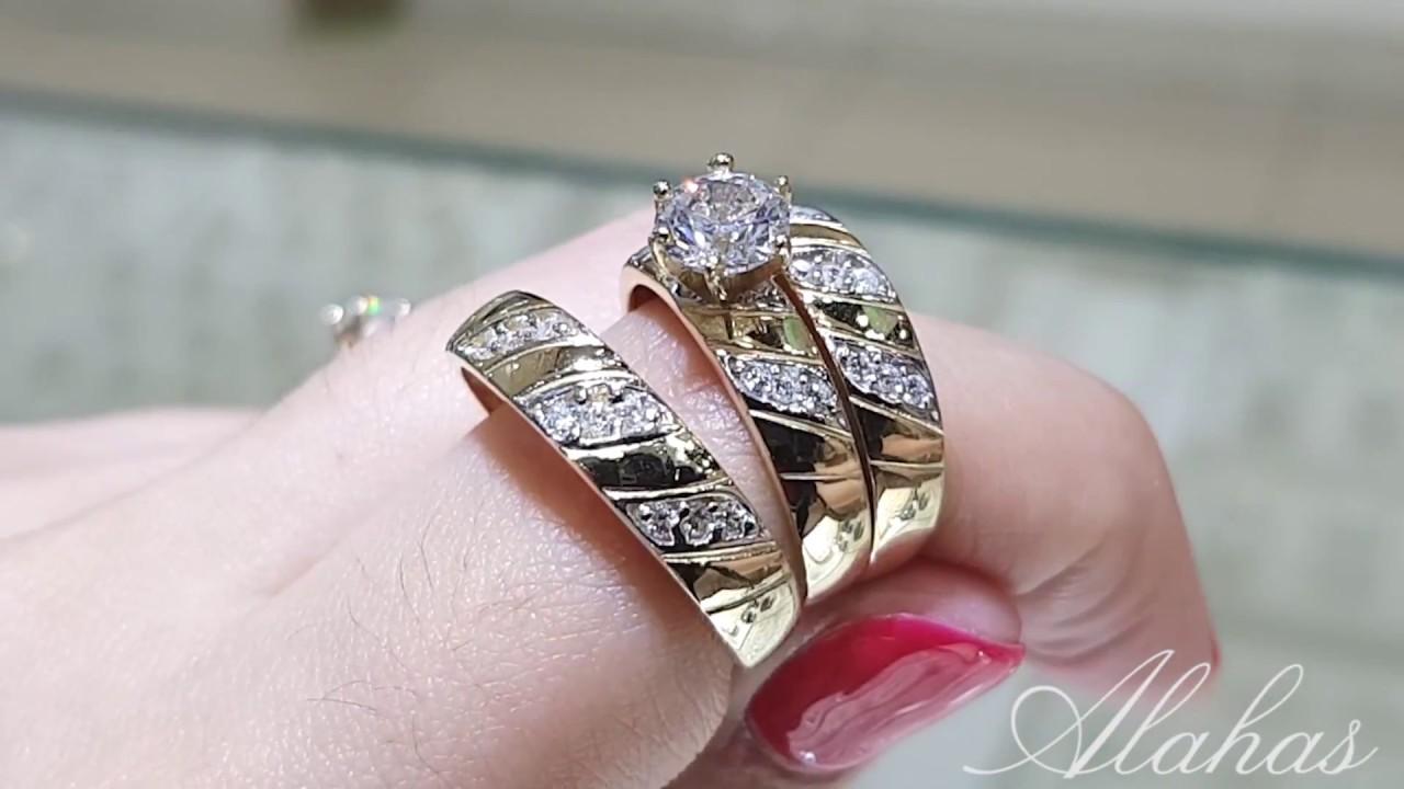 450ca89bbd85 Trío de boda en oro 14k