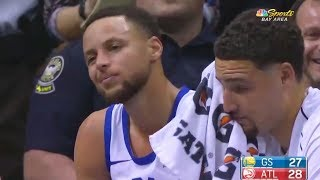 Stephen Curry Injury - Sprains Ankle After Landing on Zaza Pachulia! Warriors vs Hawks