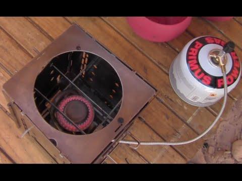 Firebox Stove Camp Cooking With Primus Gas / Trangia Gas Burner Conversion / Zebra Pot Case.