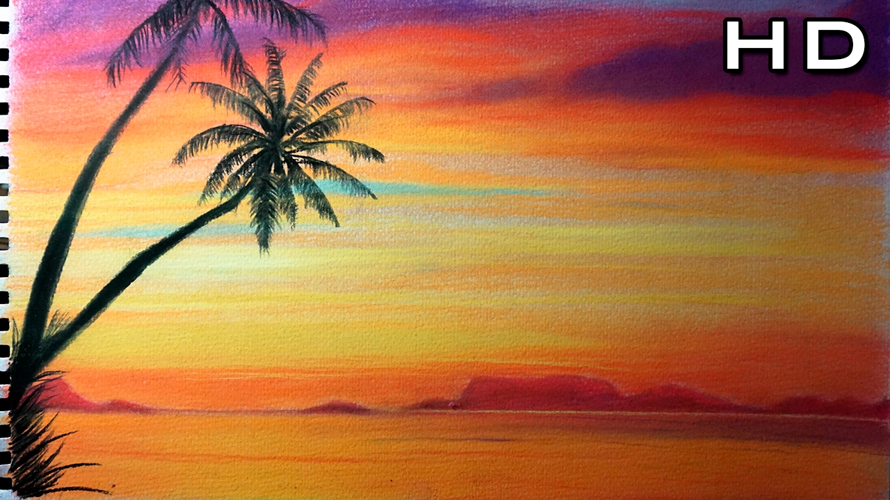 Ideas for beginners easy canvas painting ideas canvas painting ideas - Dibujo De Un Hermoso Atardecer Con Tizas Pastel Youtube