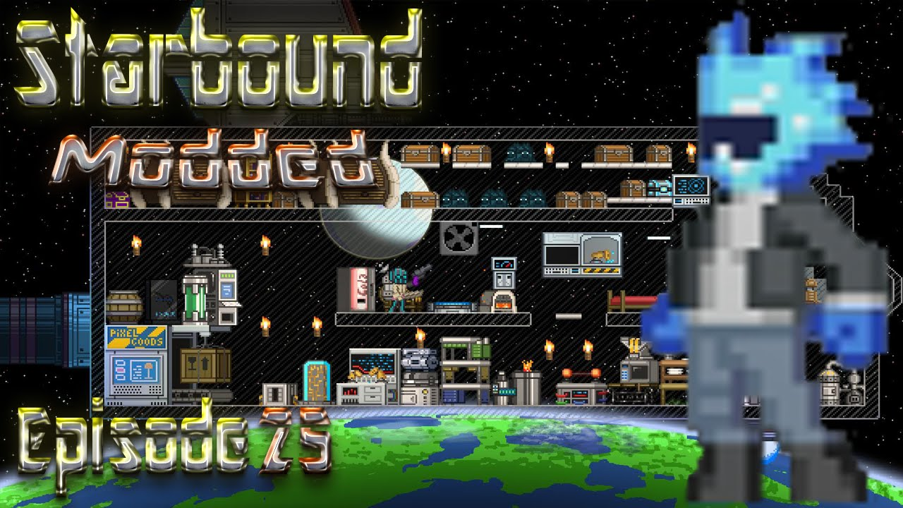 Lets Play Starbound Modded Episode 25 A Proper Quarry Augment Nightly Wiring Tool Armor