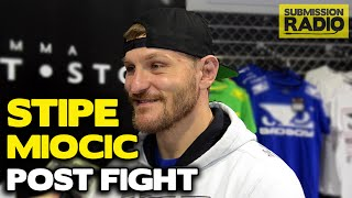 Stipe Miocic Post fight talks Mark Hunt TKO Stoppage, if it went too long, what's next, JDS, Overeem