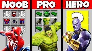 Minecraft Battle: NOOB vs PRO vs HEROBRINE: SUPERHERO CRAFTING CHALLENGE / Animation