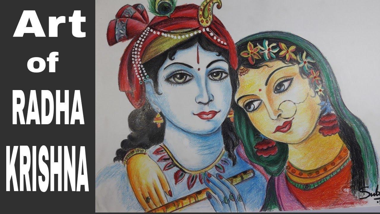 Radha Krishna Pencil Sketch Modern Art