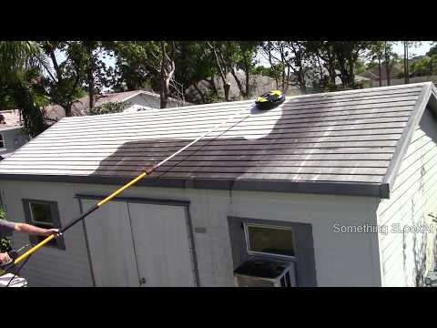 Pressure washing the shed roof - Mesmerizing!