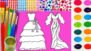 Pretty Dresses Coloring Page for Children to Learn Color with Glitter Watercolor Paint