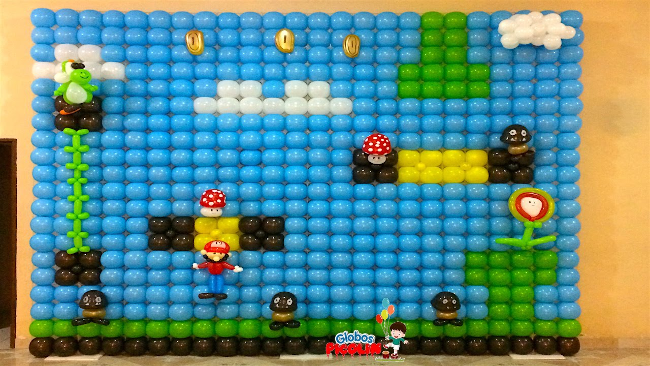 idea decoracin mario bros con globos