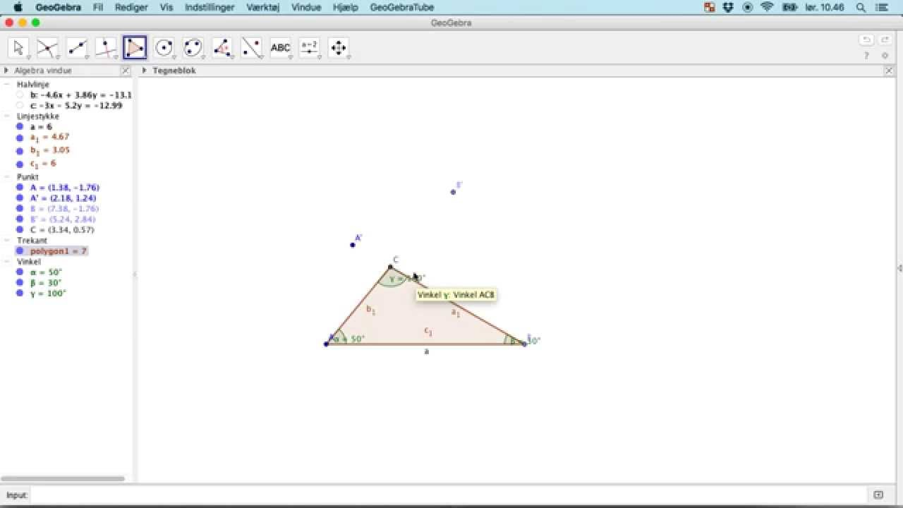 GeoGebra L5 - Trekant defineret ved en side og to vinkler