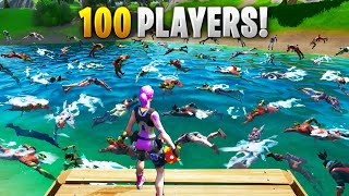 100 PLAYER SWIMMING RACE!! - Fortnite Funny and Daily Best Moments Ep. 1396