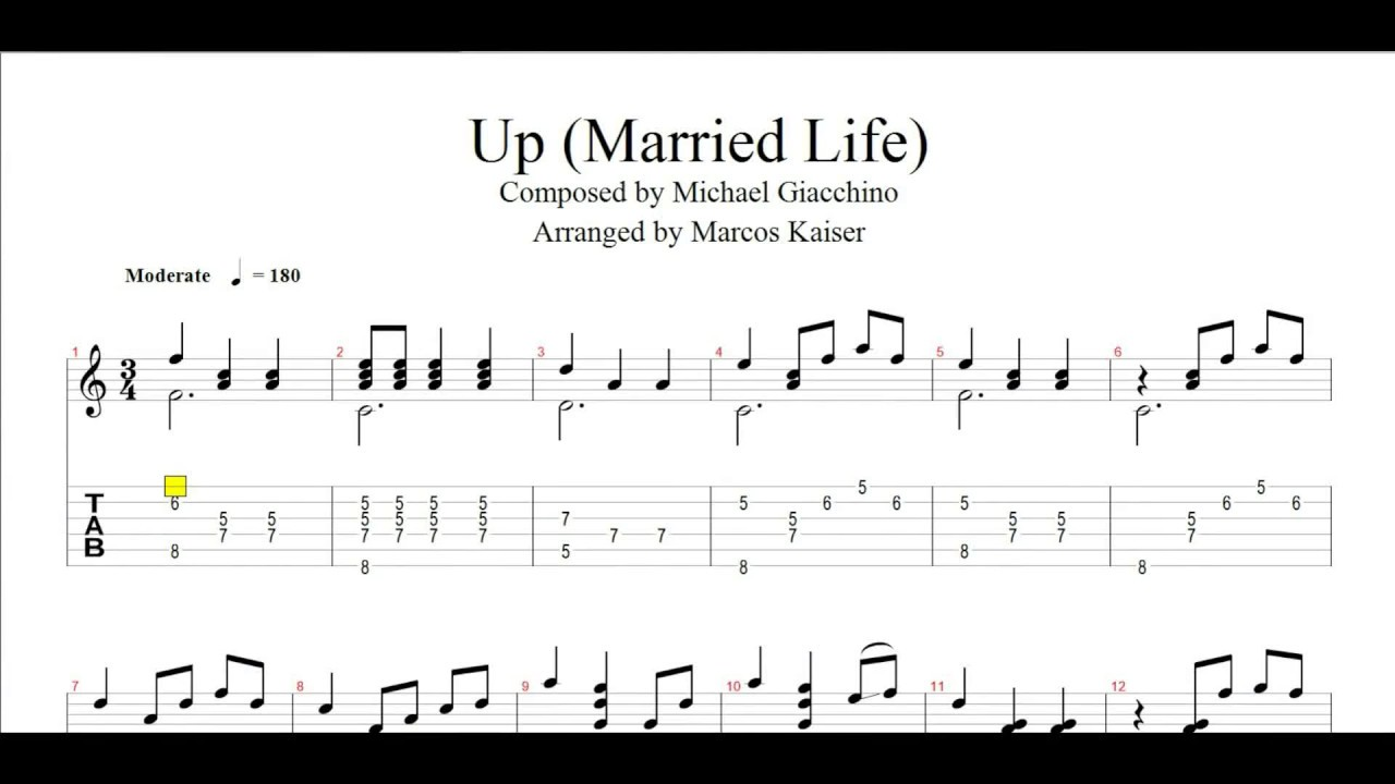 Married life guitar tab pdf