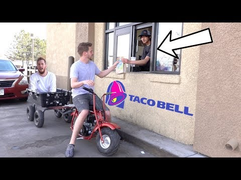 DRIVE THRU IN A TOY DIRT BIKE!