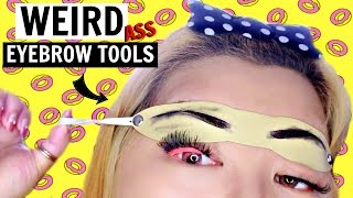 TESTING WEIRD ASIAN EYEBROW TOOLS!
