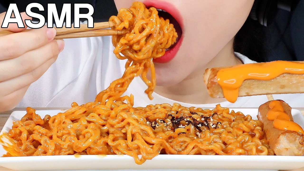 ASMR Creamy&Cheesy Fire Noodles 크림불닭볶음면, 핫바 먹방 Eating Sounds Mukbang