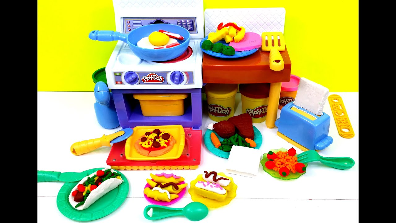 Play Doh Meal Makin Kitchen Playset By Hasbro Playdough Youtube