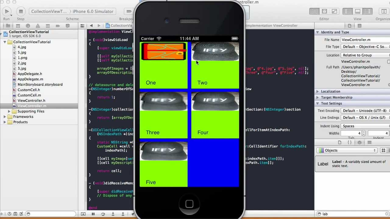 Objective c background image view - Collection View Tutorial Xcode 4 5 1