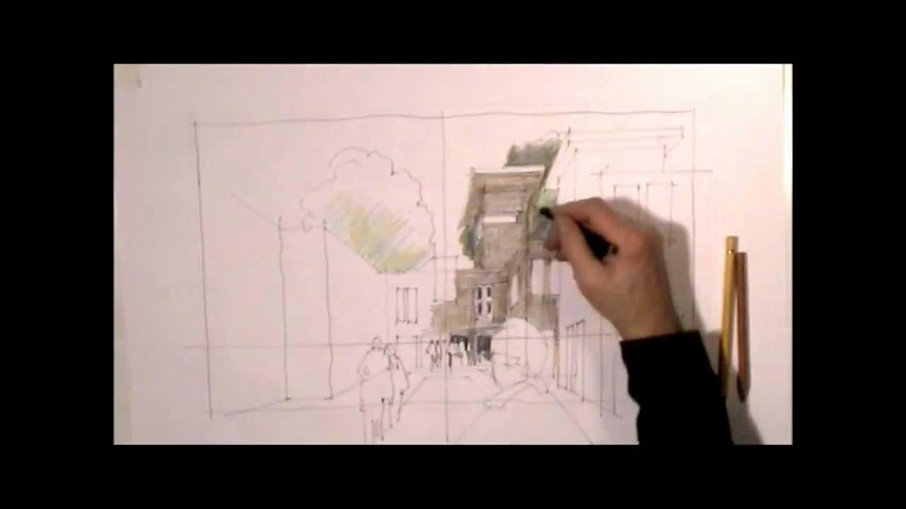 Schnelle Architekturskizze Mit Menschen Und Baumen