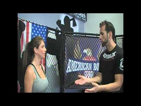 Elena Tenaglia gets pumped at American Boxing at Republic Training Ctr on The Talk of San Diego Show