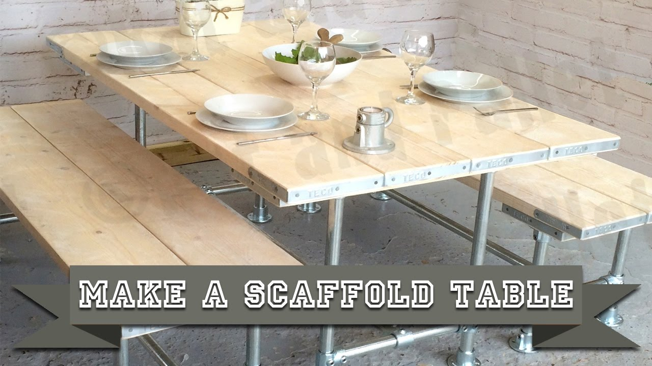 How to make a scaffold table from poles and boards using for Instructions on how to build a table