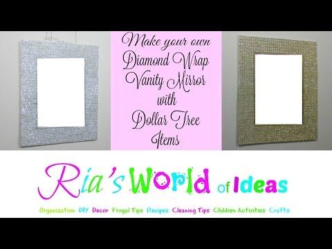 Make Your Own Diamond Wrap Vanity Mirror with Dollar Tree Items
