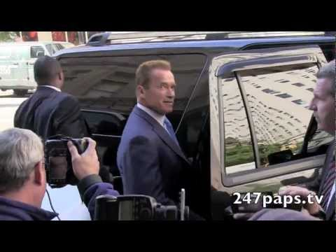 Arnold Schwarzenegger eating at Celebrity hot spot Nellos Restaurant in NYC