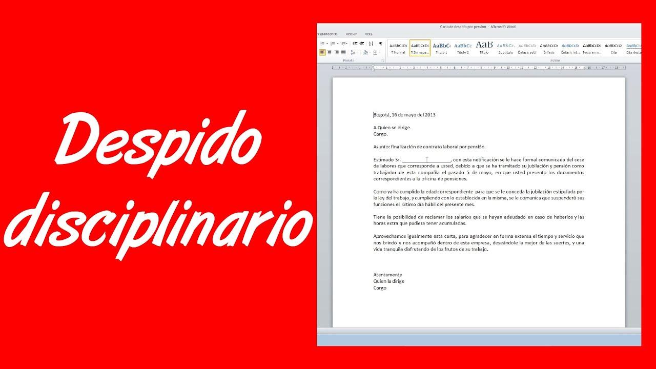 Como hacer una carta de despido disciplinario youtube