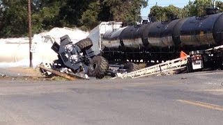 Video: Train Hits Truck in Mer Rouge, Louisiana | Train Stuck on Tracks Collides With Semi-Trailer