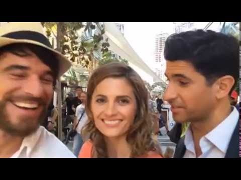 Stana Katic, Alfonso Bassave & Raza Jaffrey on the set of The Rendezvous
