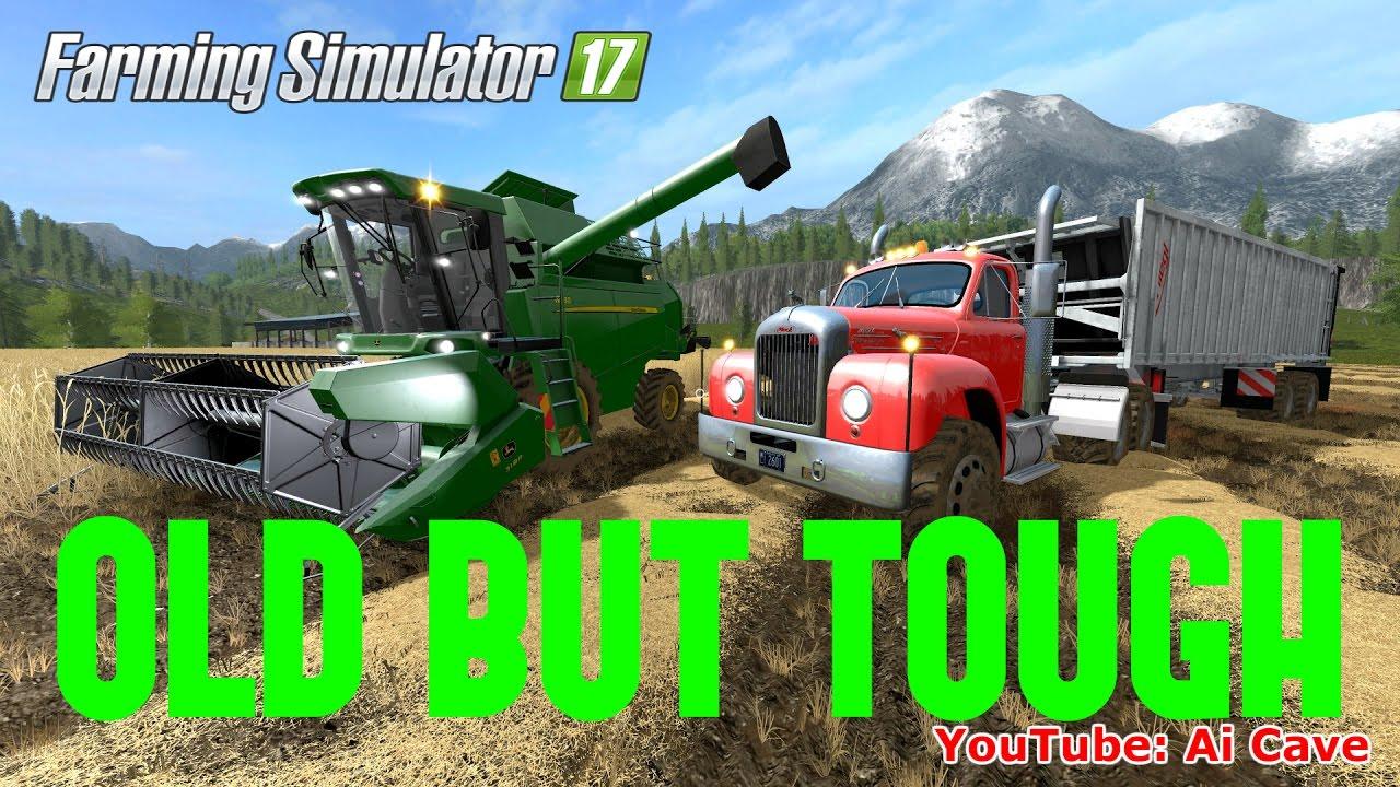 Farming Simulator 2017 Old But Tough - JOHN DEERE W330 Combine, MACK B61  TRUCK & TRAILER Mods Review