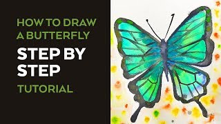How to Draw a Butterfly: (Narrated) Step by Step Video Tutorial