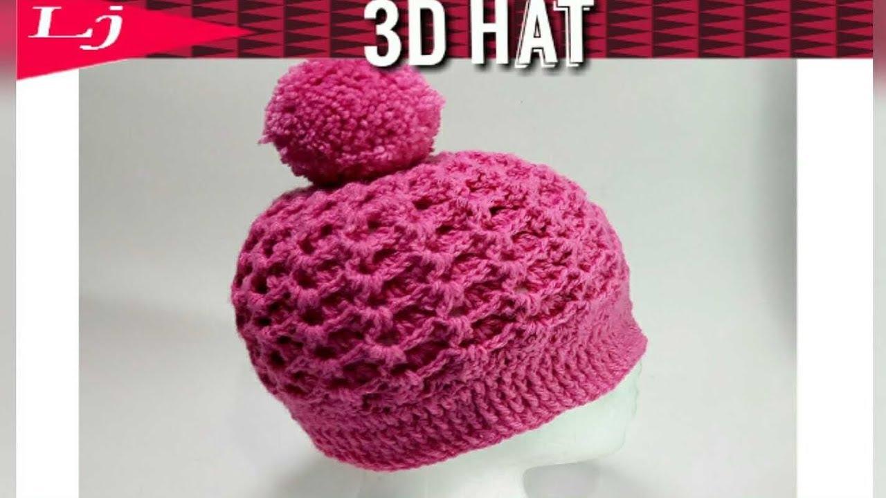 3D Zig Zag Stitch - Crochet hat - Ribbed crochet hat pattern - YouTube 27fb031e221