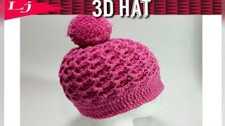 3D Zig Zag Stitch - Crochet hat - Ribbed crochet hat pattern