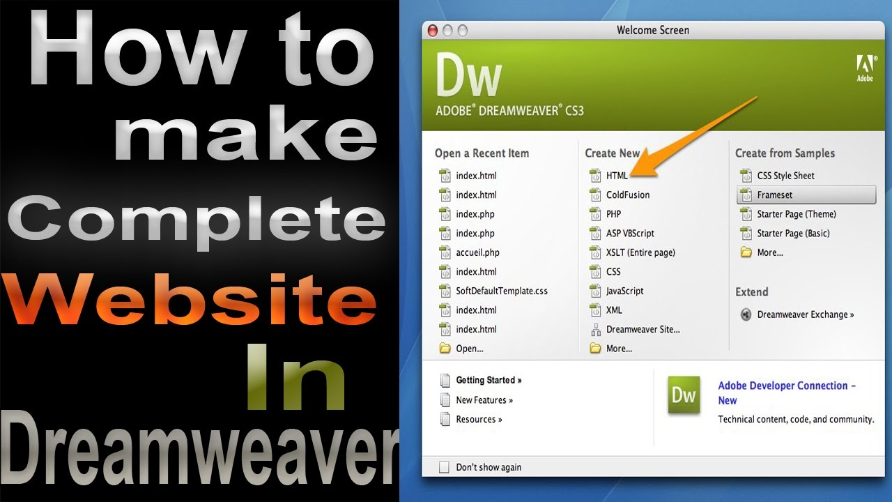 Create a two column web design london page with dreamweaver.