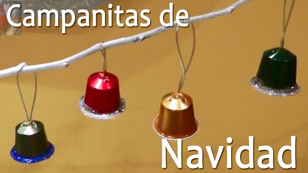 Campanas de navidad con capsulas nespresso manualidades - Manualidades con fieltro para navidad ...