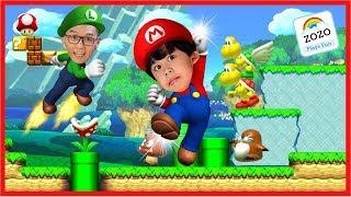 SUPER MARIO RUN Family Game Night Let's Play Super Mario BROS with Zozo Plays Fun