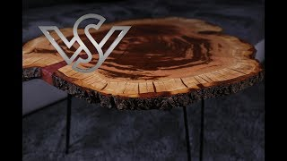 live edge coffee table with epoxy resin